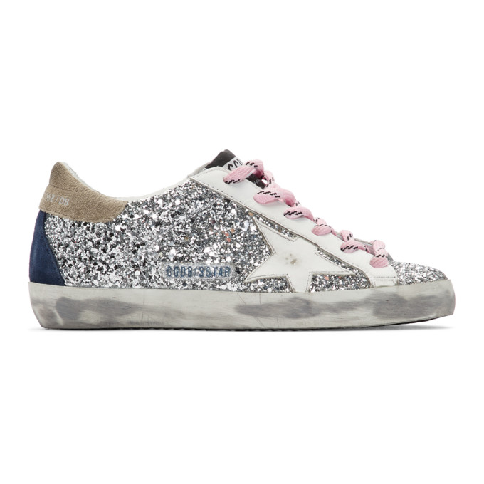 Silver and White Glitter Superstar Sneakers