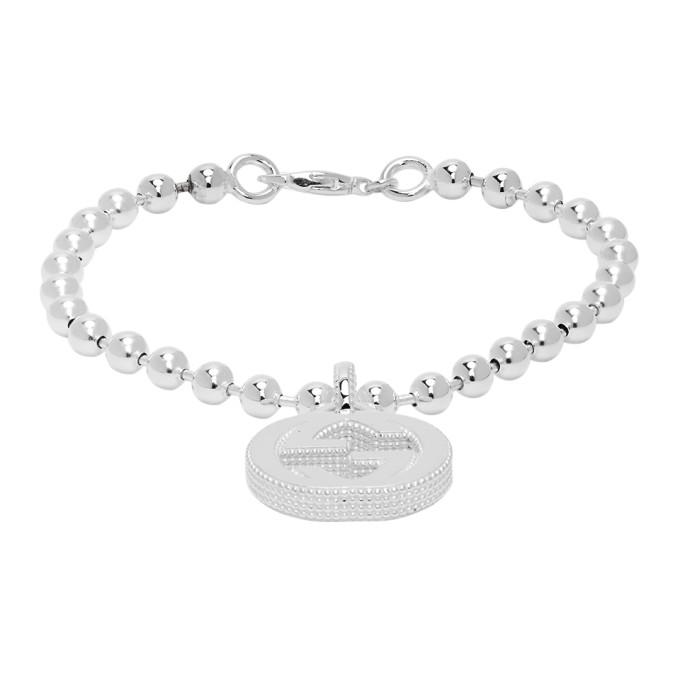 Silver Interlocking G Pendant Bracelet