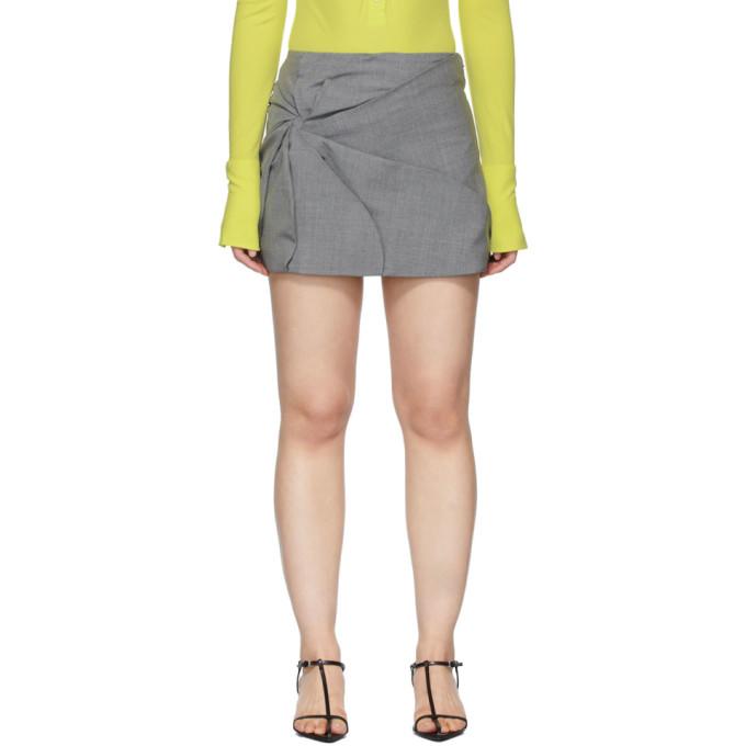 Grey Wool Vortex Miniskirt
