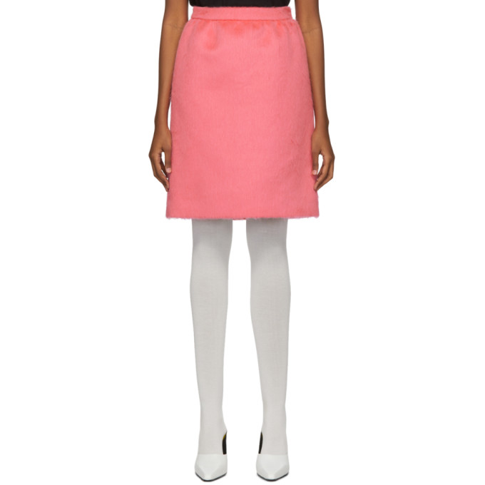 Pink Faux-Fur Gathered Straight Skirt