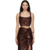 Brown Sequinned Cropped Tank Top