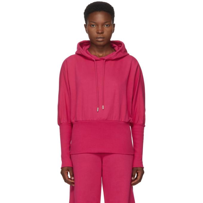 Pink Cropped Logo Hoodie