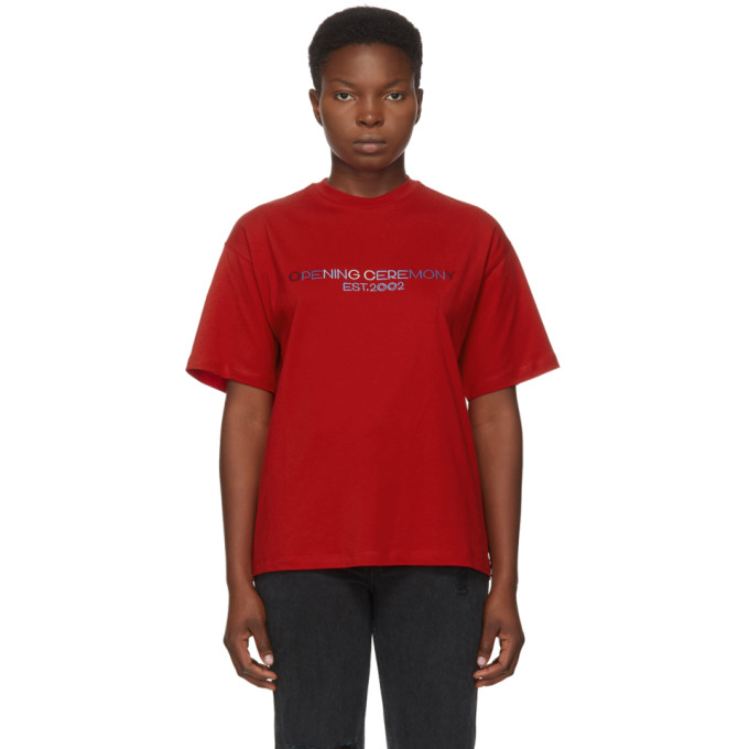 Red Embroidered Text Logo T-Shirt
