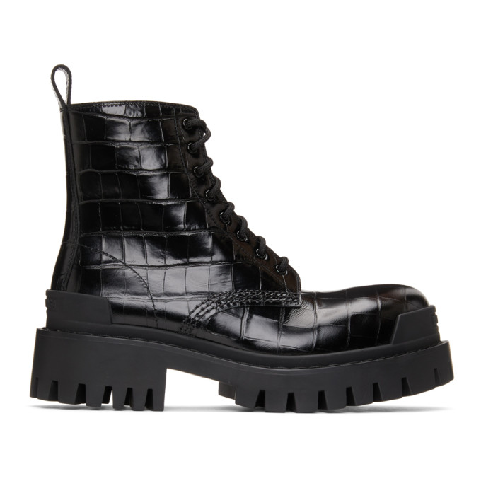 Black Croc Strike Ankle Boots