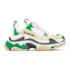Green and White Triple S Sneakers