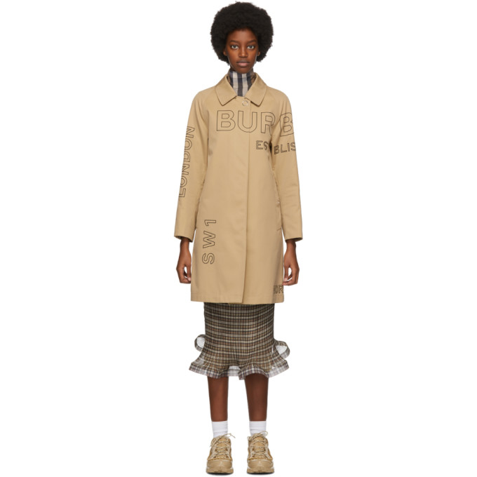 Beige Gabardine Horseferry Trench Coat