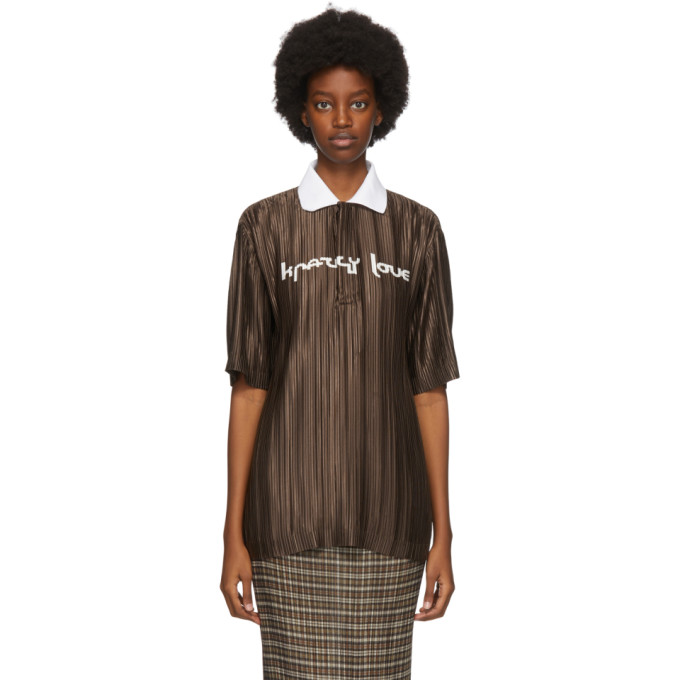 Brown Oversized Plisse Polo
