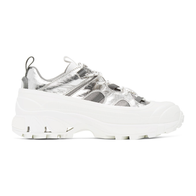 White and Silver Arthur Story Sneakers