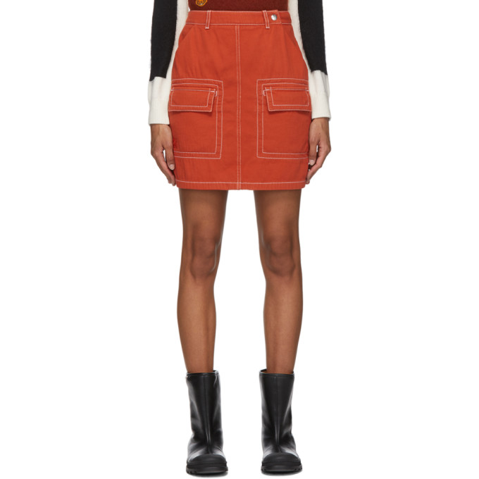 Orange Straight Miniskirt