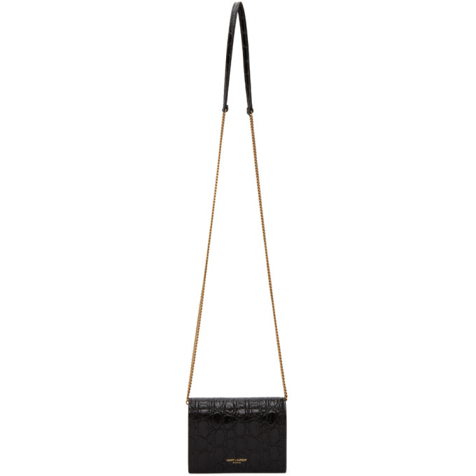 Black Croc Chain Card Case Bag