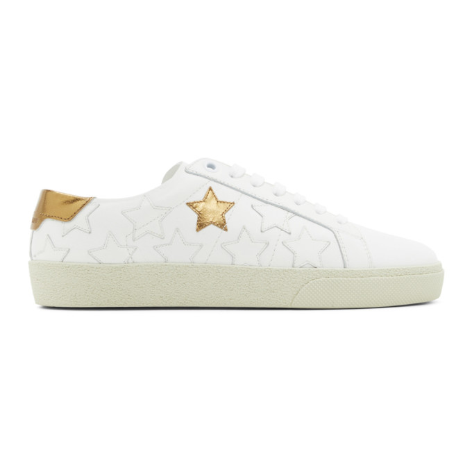White and Gold Star Court Classic Sneakers