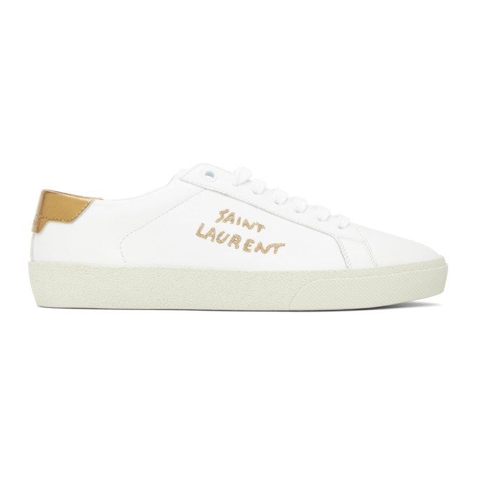 White and Gold Court Classic Sneakers