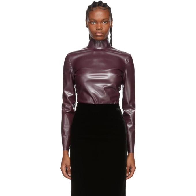 Purple Latex Turtleneck Bodysuit