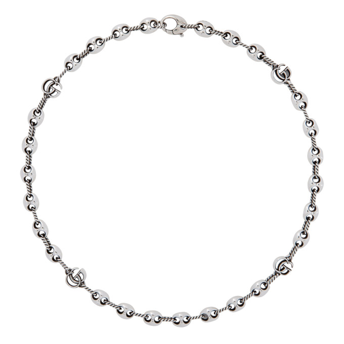 Silver GG Marmont Marina Necklace