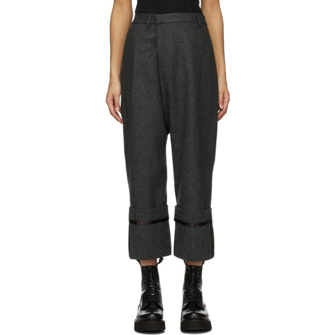 Grey Wool Tailored Cross Over Trousers