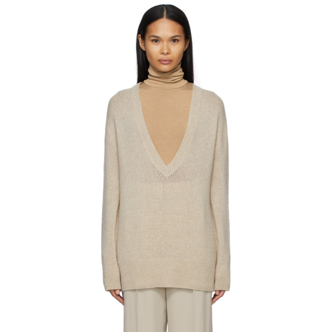 Taupe Cashmere Baudelia V-Neck Sweater