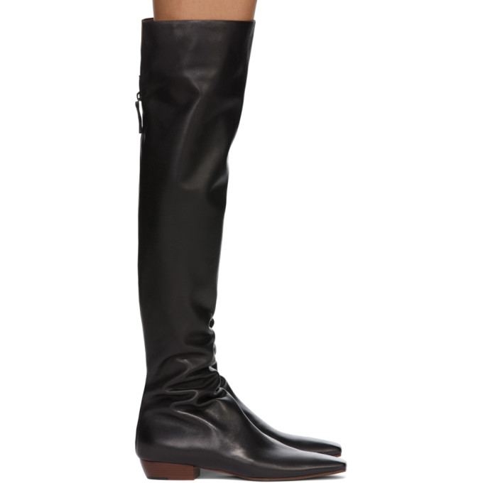 Black Slouch Flat Tall Boots