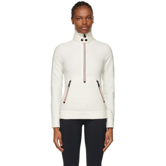 White Zip Mock Polo Neck Sweatshirt