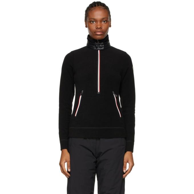 Black Zip Mock Polo Neck Guard Sweatshirt