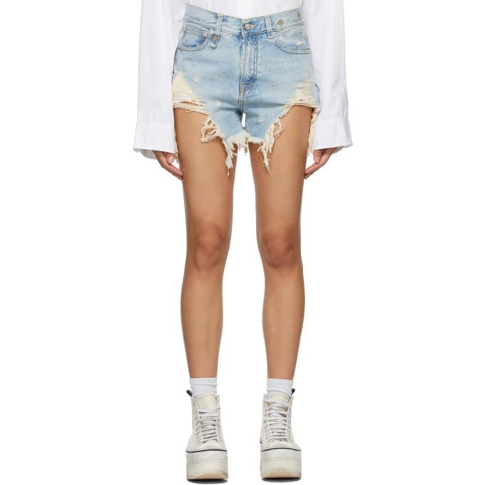 Blue Shredded Slouch Shorts