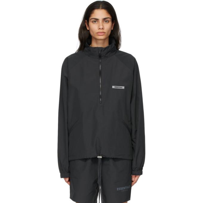 Black Half-Zip Track Jacket