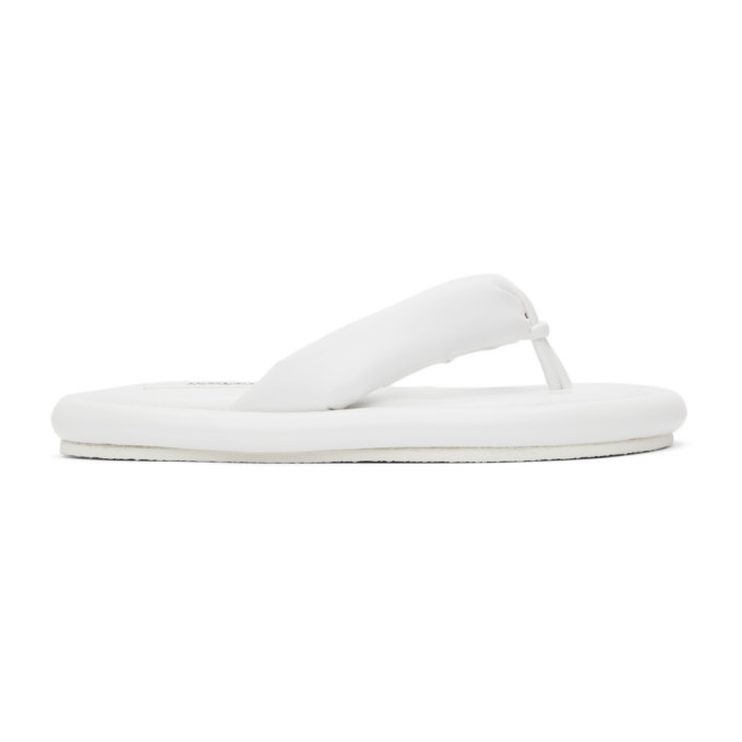 White Faux-Leather Padded Sandals