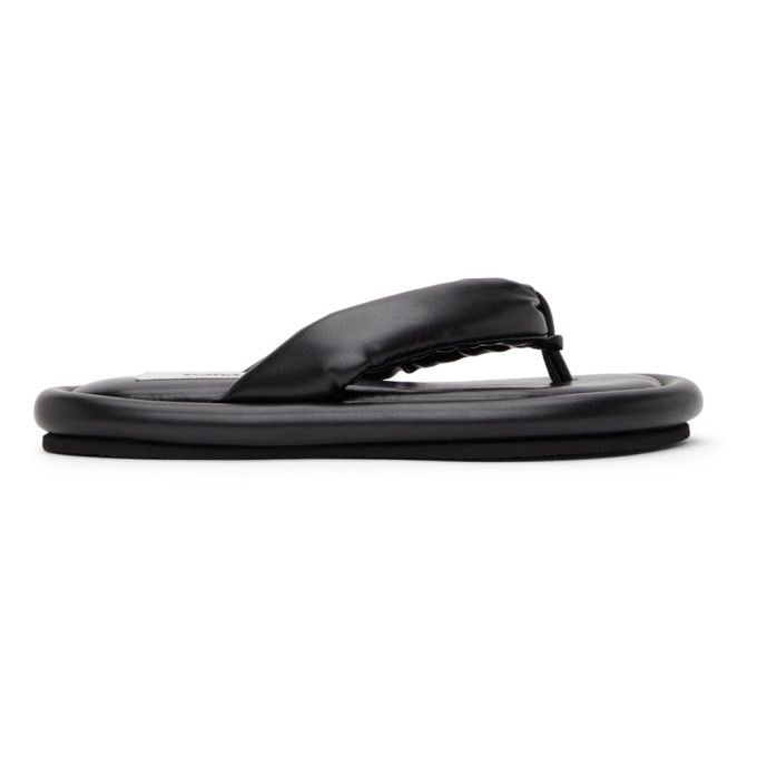 Black Faux-Leather Padded Sandals