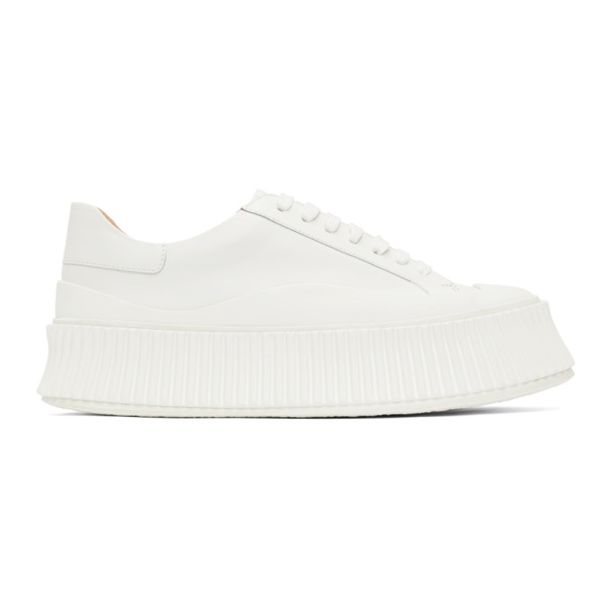 White Leather Platform Sneakers