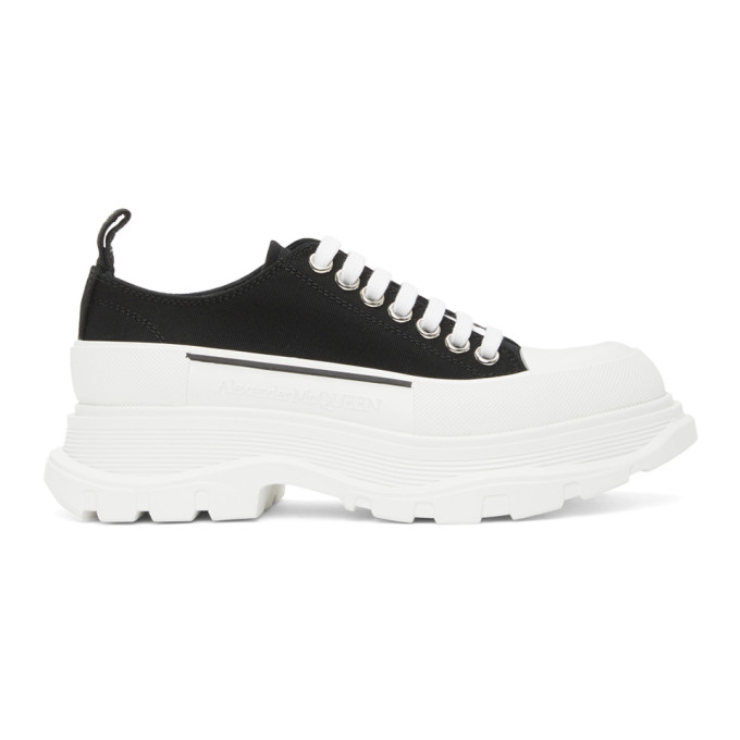 Black and White Tread Slick Platform Low Sneakers