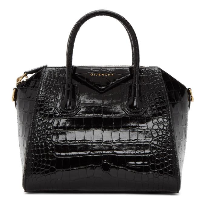 Black Croc Small Antigona Bag