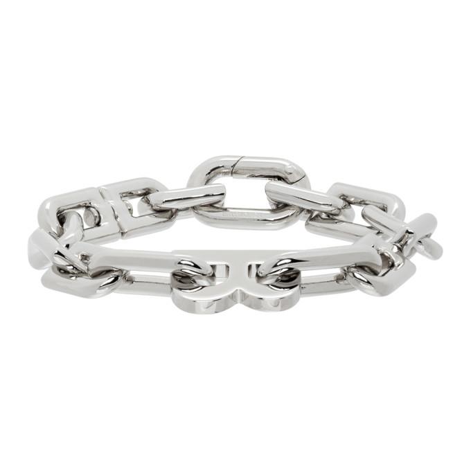 Silver Thin B Chain Bracelet