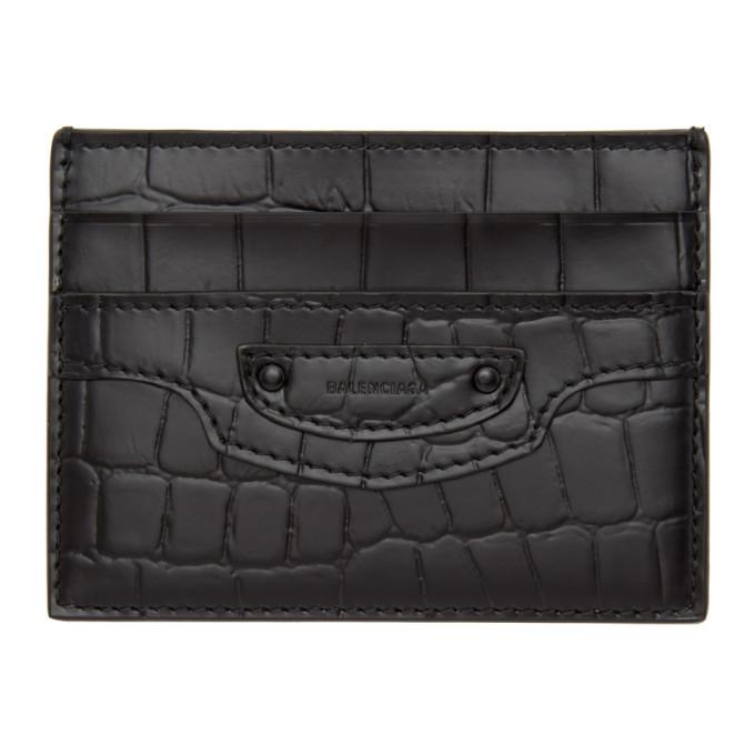 Black Croc Neo Classic Card Holder