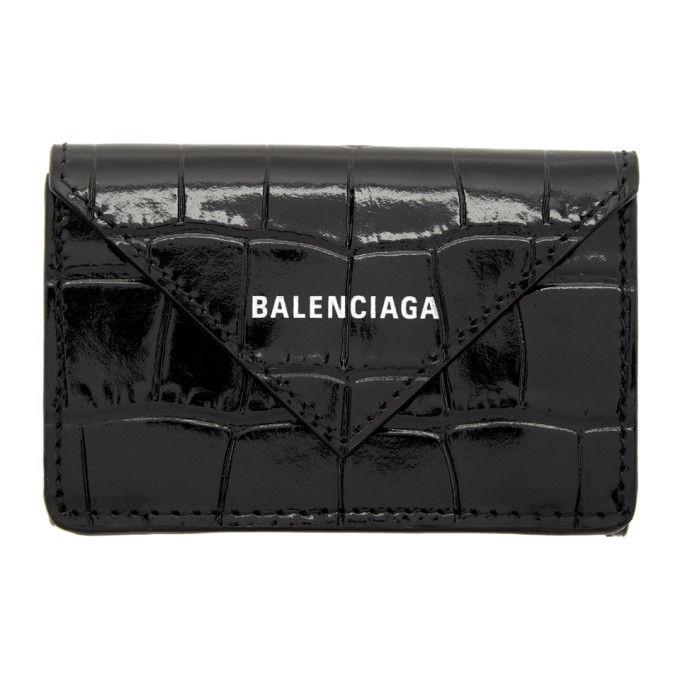 Black Croc Mini Papier Wallet