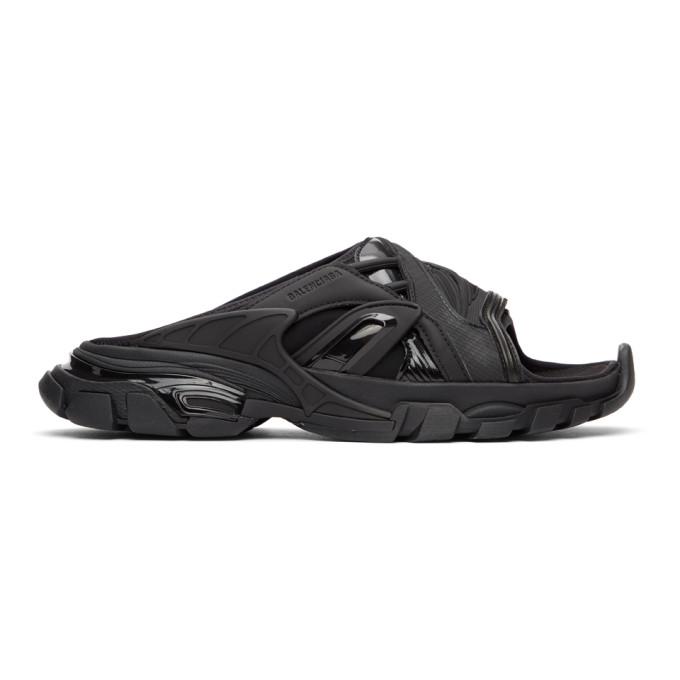 Black Track Slide Sandals