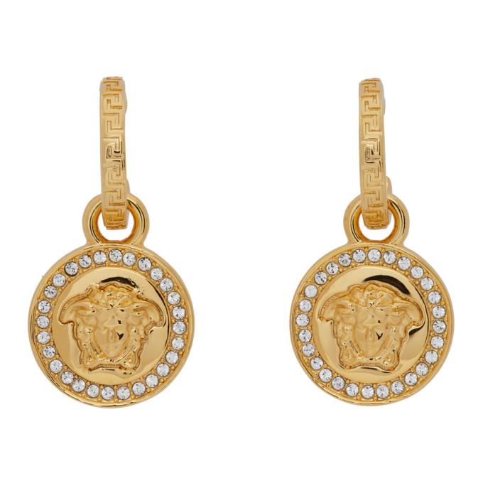 Gold Diamond Medusa Earrings