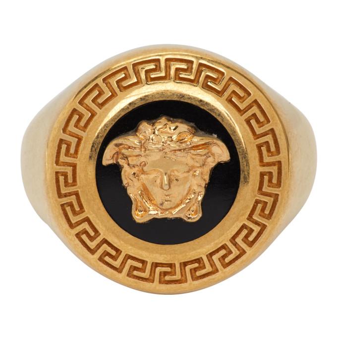 Black and Gold Enamel Medusa Medallion Ring