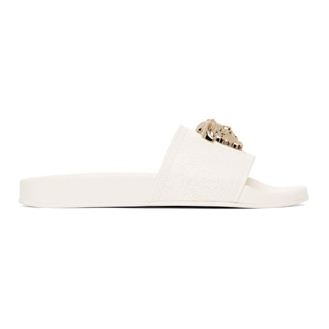 White Palazzo Pool Sandals