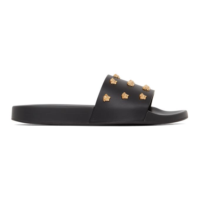 Black Leather Medusa Stud Sandals