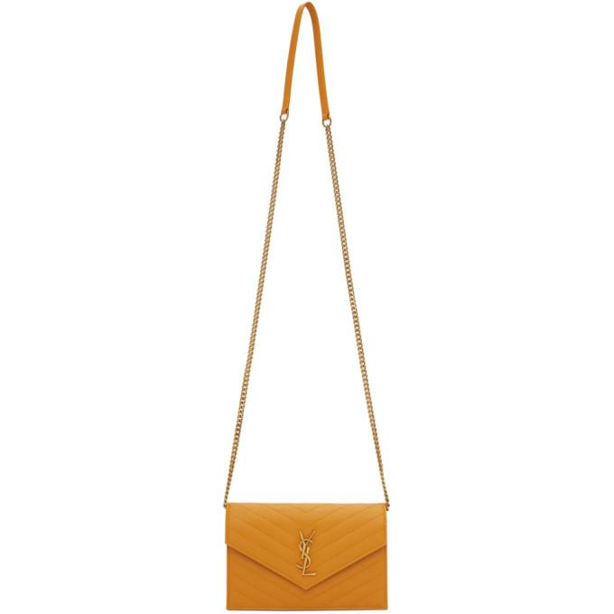 Yellow Monogramme Envelope Chain Wallet Bag