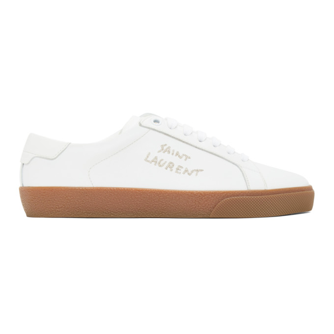White and Brown Court Classic Sneakers