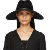 Black Felt Wide Brim Horsebit Panama Hat