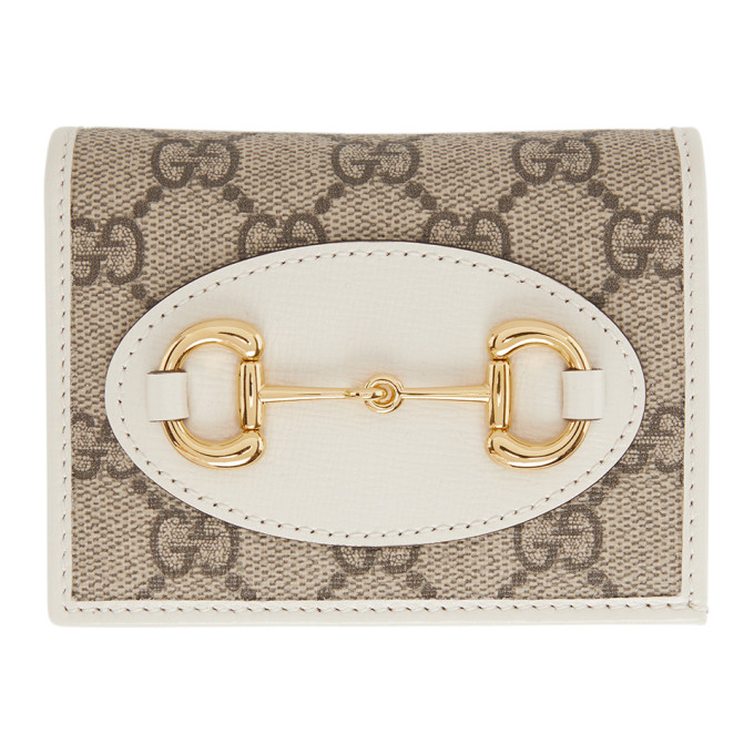 Beige and White GG Gucci 1955 Horsebit Card Holder Wallet