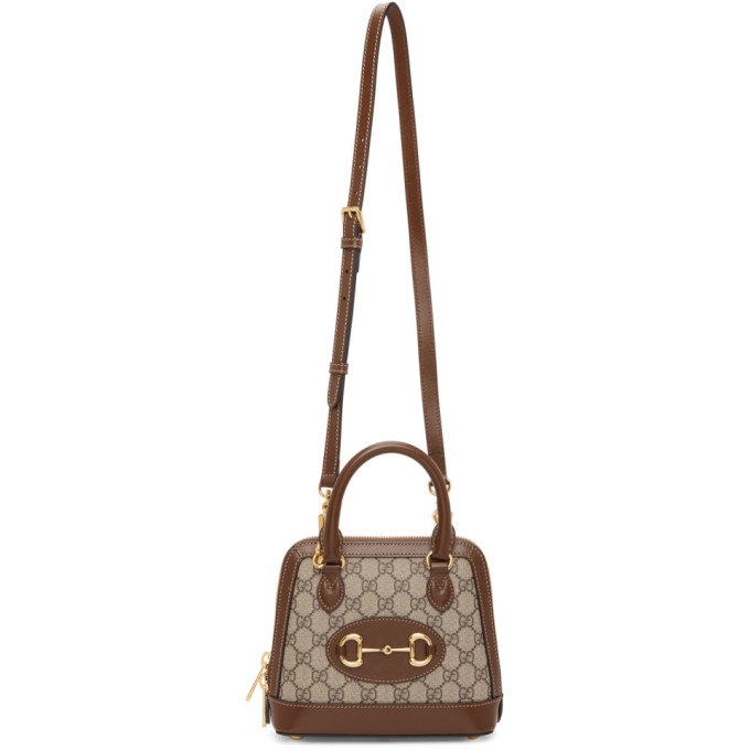 Beige and Brown Small GG Gucci 1955 Horsebit Bag
