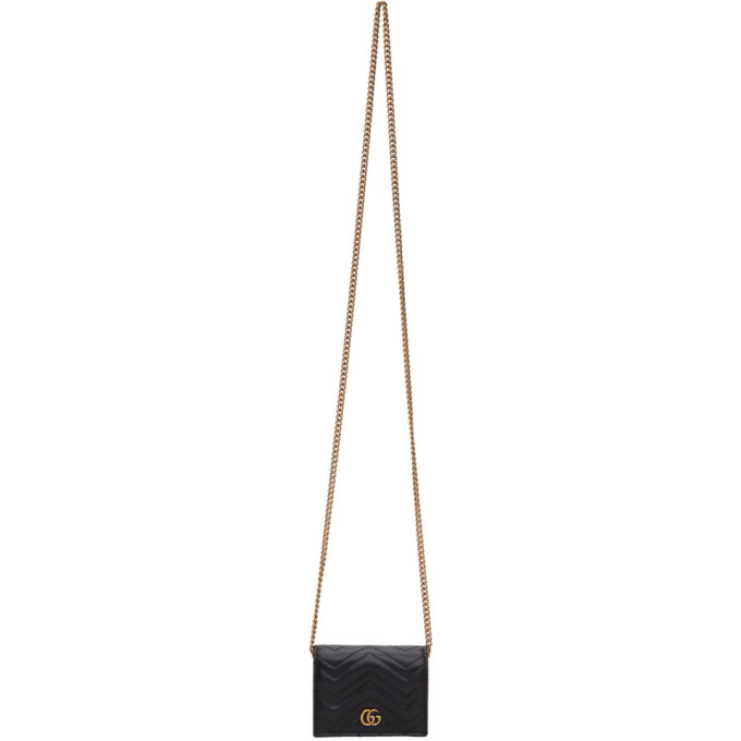 Black GG Marmont 2.0 Chain Wallet Bag