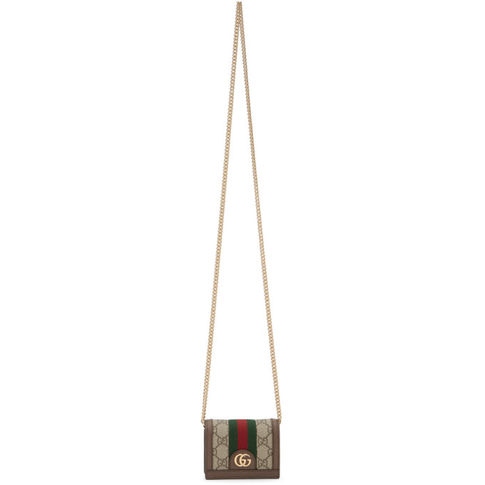 Brown GG Supreme Ophidia Chain Wallet Bag