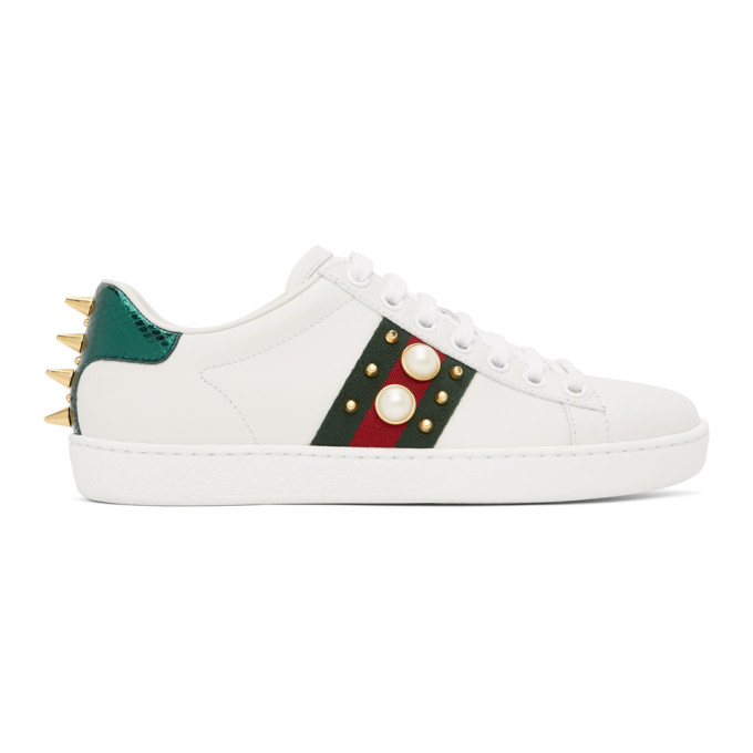 White Pearl Stud New Ace Sneakers
