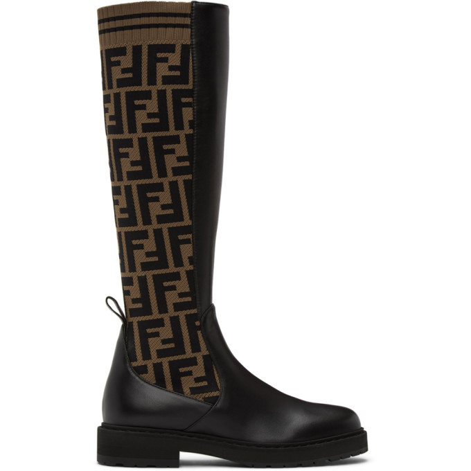 Brown and Black Forever Fendi Rockoko Tall Boots