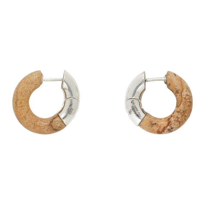 Silver and Beige Half Stone Earrings