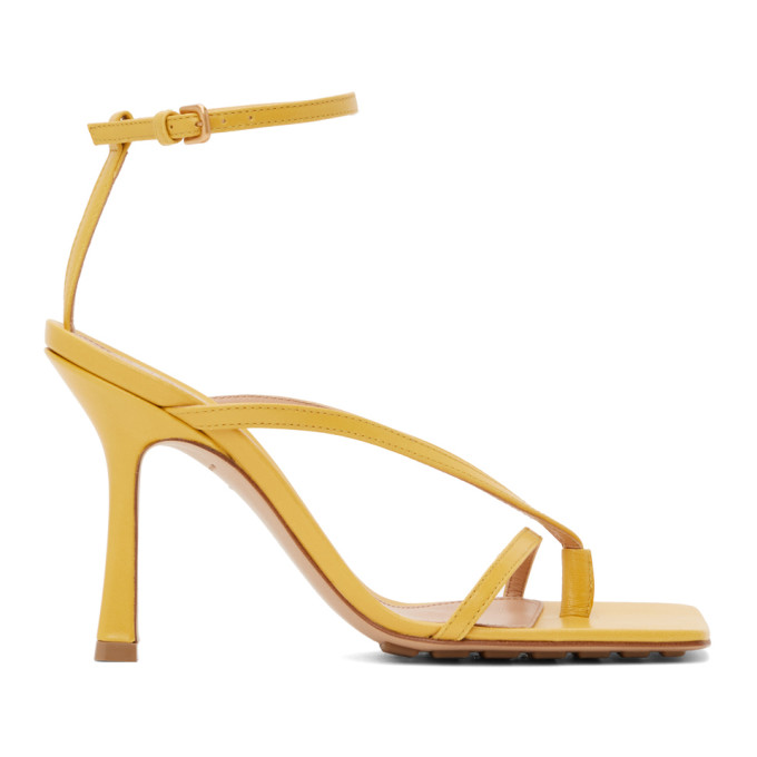 Yellow Stretch Heeled Sandals