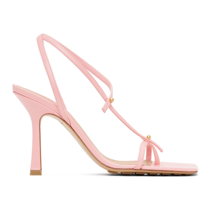 Pink Stretch Heeled Sandals